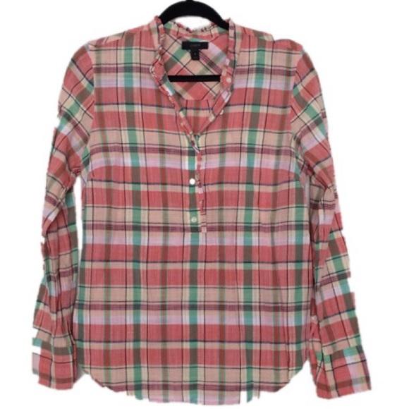 J. Crew Tops - J. Crew Plaid 100% Cotton Long Sleeve Shirt